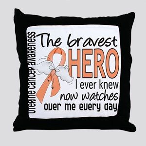 Bravest Hero I Knew Uterine Cancer Throw Pillow