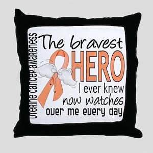 Bravest Hero I Knew Uterine Cancer Throw Pillow