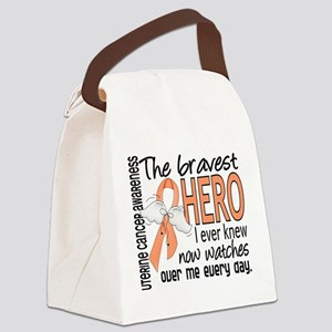Bravest Hero I Knew Uterine Cancer Canvas Lunch Ba