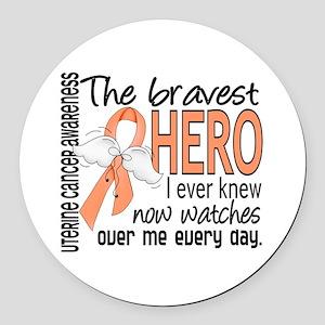 Bravest Hero I Knew Uterine Cancer Round Car Magne
