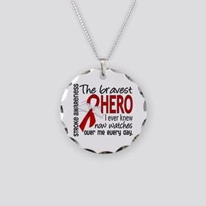 Bravest Hero I Knew Stroke Necklace Circle Charm