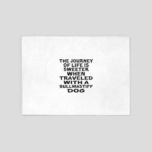 Traveled With Bull mastiff Dog Desi 5'x7'Area Rug