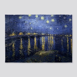 Van Gogh Starry Night Over Rhone 5'x7'Area Rug