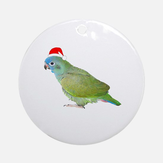 Blue Headed Pionus in Santa Hat Ornament (Round)