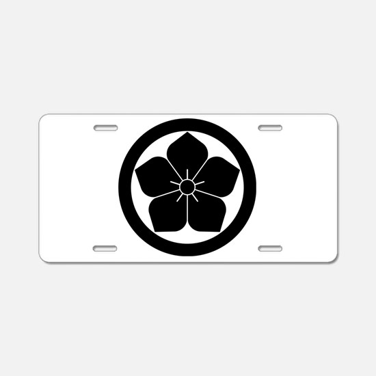 Balloon flower in circle Aluminum License Plate