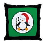 Christmas Flute Penguin Throw Pillow