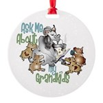 GOAT Ask Me About my Grandkids Round Ornament