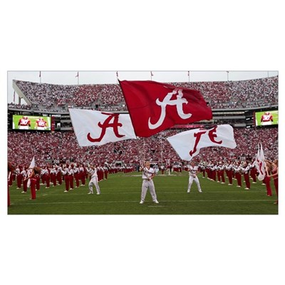 Bama Flags Fly on Game Day Poster