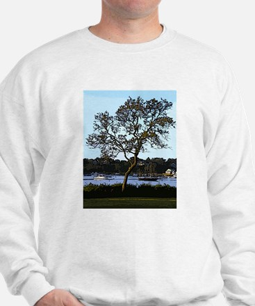 Tree and boats, Mill Pond, Chatham Sweatshirt