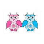 Kawaii Valentines Girl and Boy Owls 35x21 Wall Dec