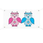 Kawaii Valentines Girl and Boy Owls Banner