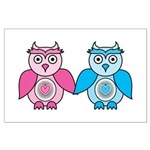Kawaii Valentines Girl and Boy Owls Large Poster