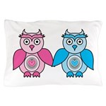 Kawaii Valentines Girl and Boy Owls Pillow Case