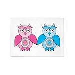 Kawaii Valentines Girl and Boy Owls 5'x7'Area Rug