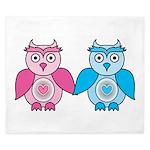 Kawaii Valentines Girl and Boy Owls King Duvet