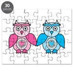 Kawaii Valentines Girl and Boy Owls Puzzle