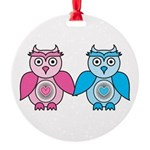 Kawaii Valentines Girl and Boy Owls Round Ornament