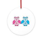 Kawaii Valentines Girl and Boy Owls Ornament (Roun