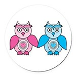 Kawaii Valentines Girl and Boy Owls Round Car Magn