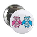 """Kawaii Valentines Girl and Boy Owls 2.25"""" But"""