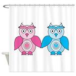 Kawaii Valentines Girl and Boy Owls Shower Curtain