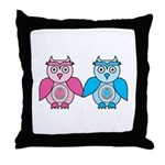 Kawaii Valentines Girl and Boy Owls Throw Pillow