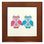 Kawaii Valentines Girl and Boy Owls Framed Tile