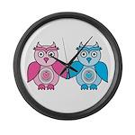 Kawaii Valentines Girl and Boy Owls Large Wall Clo