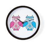Kawaii Valentines Girl and Boy Owls Wall Clock