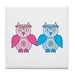 Kawaii Valentines Girl and Boy Owls Tile Coaster