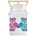 Kawaii Valentines Girl and Boy Owls Twin Duvet