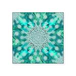 Blue Christmas Snowflake Fractal Square Sticker 3