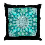 Blue Christmas Snowflake Fractal Throw Pillow