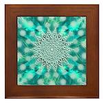 Blue Christmas Snowflake Fractal Framed Tile
