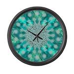 Blue Christmas Snowflake Fractal Large Wall Clock