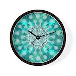 Blue Christmas Snowflake Fractal Wall Clock