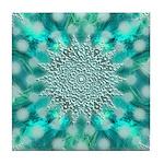 Blue Christmas Snowflake Fractal Tile Coaster