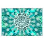 Blue Christmas Snowflake Fractal Large Poster