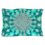 Blue Christmas Snowflake Fractal Pillow Case
