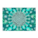 Blue Christmas Snowflake Fractal 5'x7'Area Rug