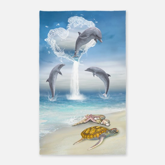 The Heart Of The Dolphins 3'x5' Area Rug