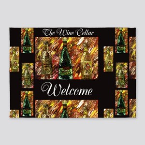 The Wine Cellar Welcome by M Moore 5'x7'Area Rug
