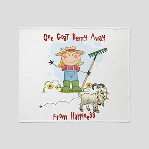 Funny Goat Berries Throw Blanket