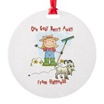 Funny Goat Berries Round Ornament
