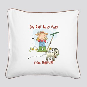 Funny Goat Berries Square Canvas Pillow