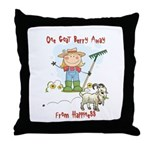 Funny Goat Berries Throw Pillow