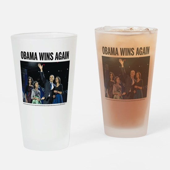 Obama Wins Again Drinking Glass