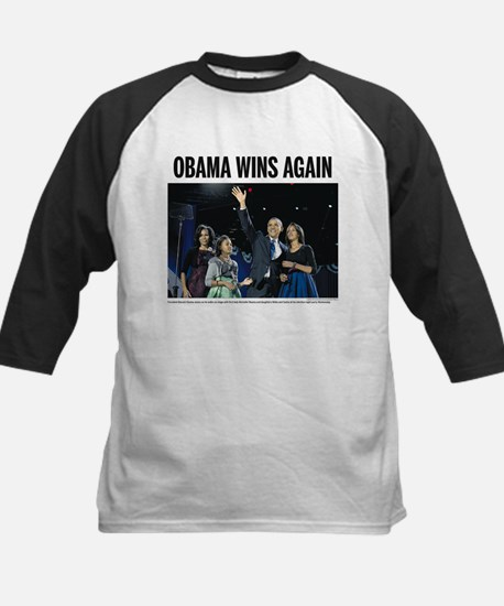 Obama wins again Kids Baseball Jersey