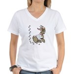 Cute Girl Cartoon Goat Women's V-Neck T-Shirt