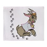 Cute Girl Cartoon Goat Throw Blanket